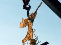 Завершены работы по монтажу ангела-флюгера на колокольне крестильного храма