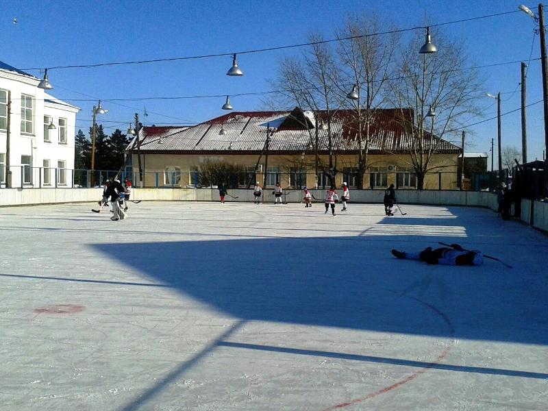 Хоккей в селе Пресновка