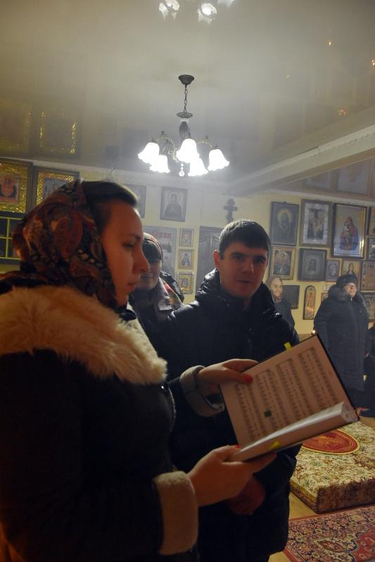 Божественная Литургия в селе Новокаменка